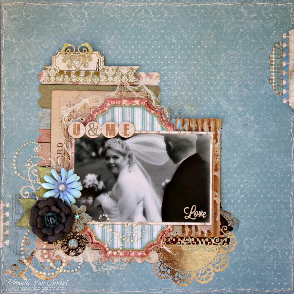 U and Me Scrapbook Page featuring Garden Journal Collection and Foil Rubons from BoBunny by Rhonda Van Ginkel