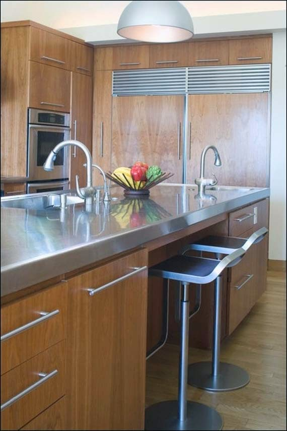 Comparing Countertop Materials For Kitchens : image of stainless steel countertop that is the countertop materials