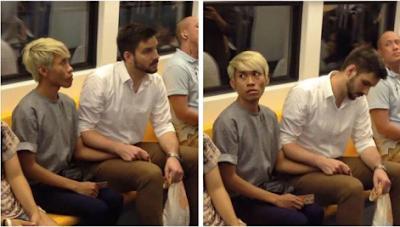 pasangan gay mesra di kereta