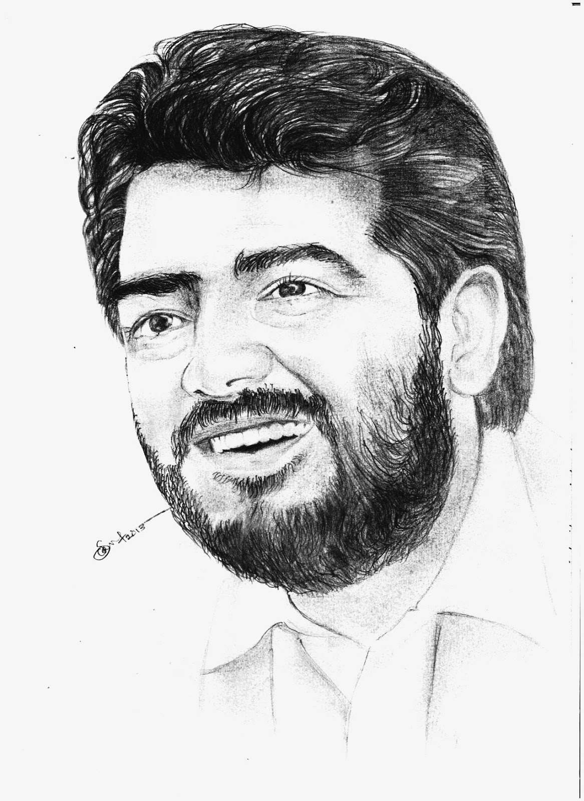 Artists of india ajith actor pencil drawing art by srsrinivas
