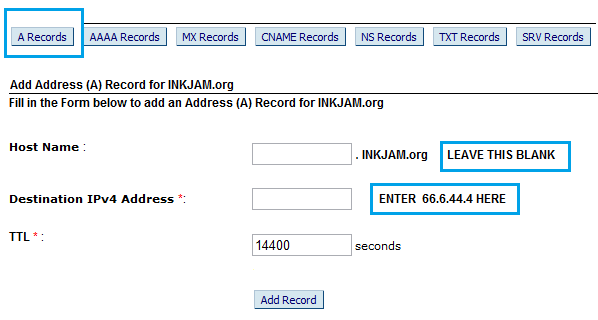 BigRock A-Name Record