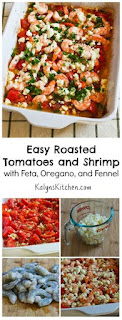 Easy Roasted Tomatoes and Shrimp Recipe with Feta, Oregano, and Fennel (Low-Carb, Gluten-Free) [from KalynsKitchen.com]