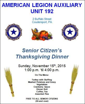 11-15 Senior Citizen's Thanksgiving Dinner