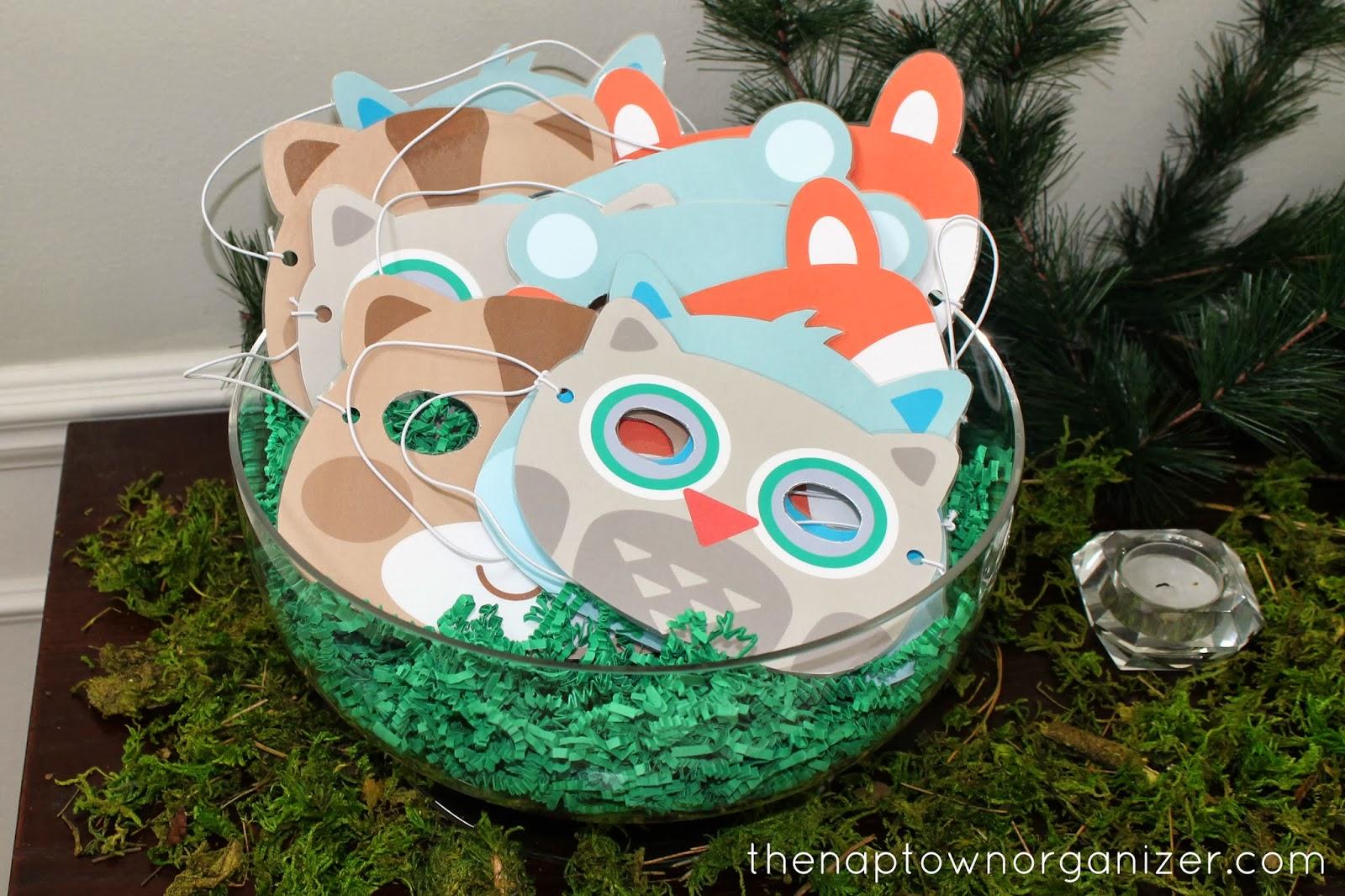 woodland birthday party DIY masks (owl, raccoon, bear, fox, etc.)