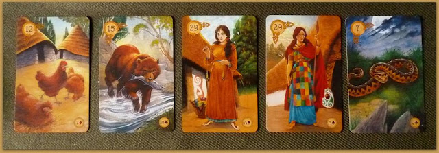 Celtic lenormand, birds, bear, woman, lady, snake