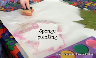 sponge painting with leaves