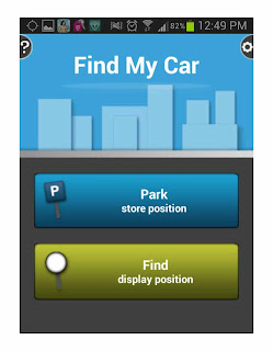 Find My Car, screen shot with Galaxy Note II