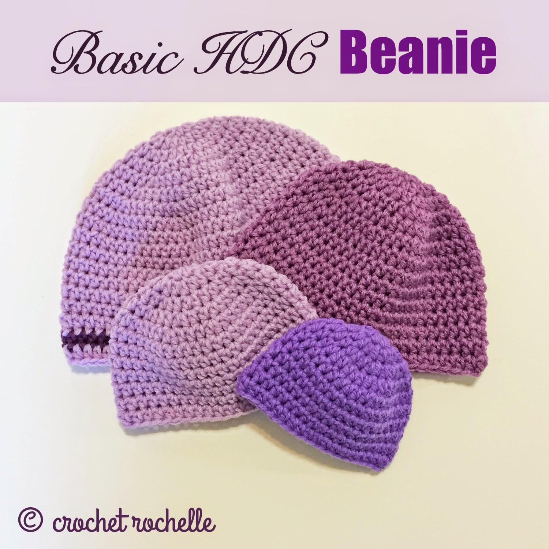 Crochet Beanie Pattern Basic : Crochet Rochelle: Basic HDC Beanie Pattern