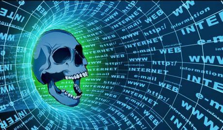 العلماء يحددون أعراض إدمان الإنترنت...ادخل لتعرف جمجمة هيكل - internet -web_death skull surfing flying