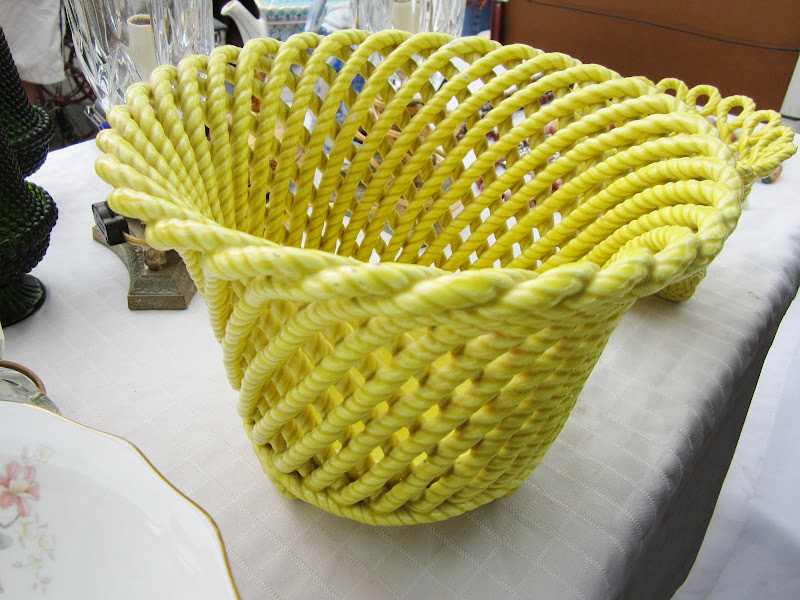 Yellow ceramic rope pot
