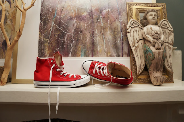 Red Chuck Taylor Converse All Stars, Watercolor art, angel, mantel, interior