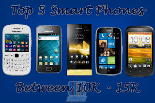 Top 5 smart phones between price range 10,000 and 15,000