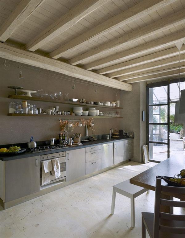 cocina lineal estilo industrial