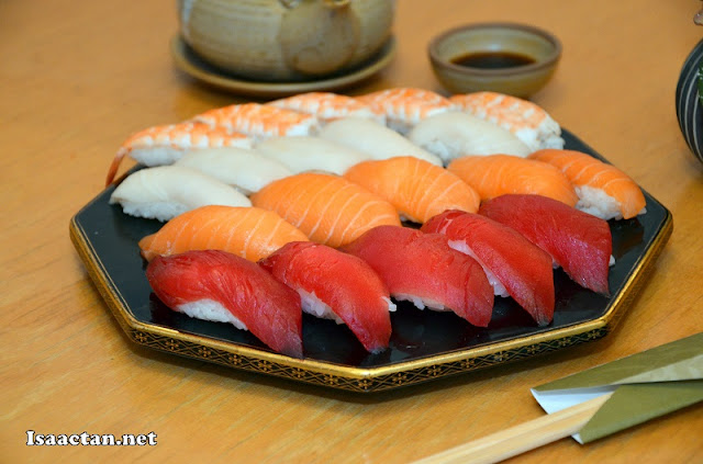 Assorted sushi with raw ingredients