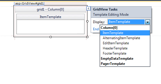 Template in gridview