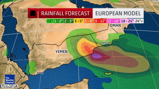 Ecmwf Euro Model S Rainfall Total Forecast For The Arabian Peninsula From Cyclone Chapala Via Map From The Weather Channel