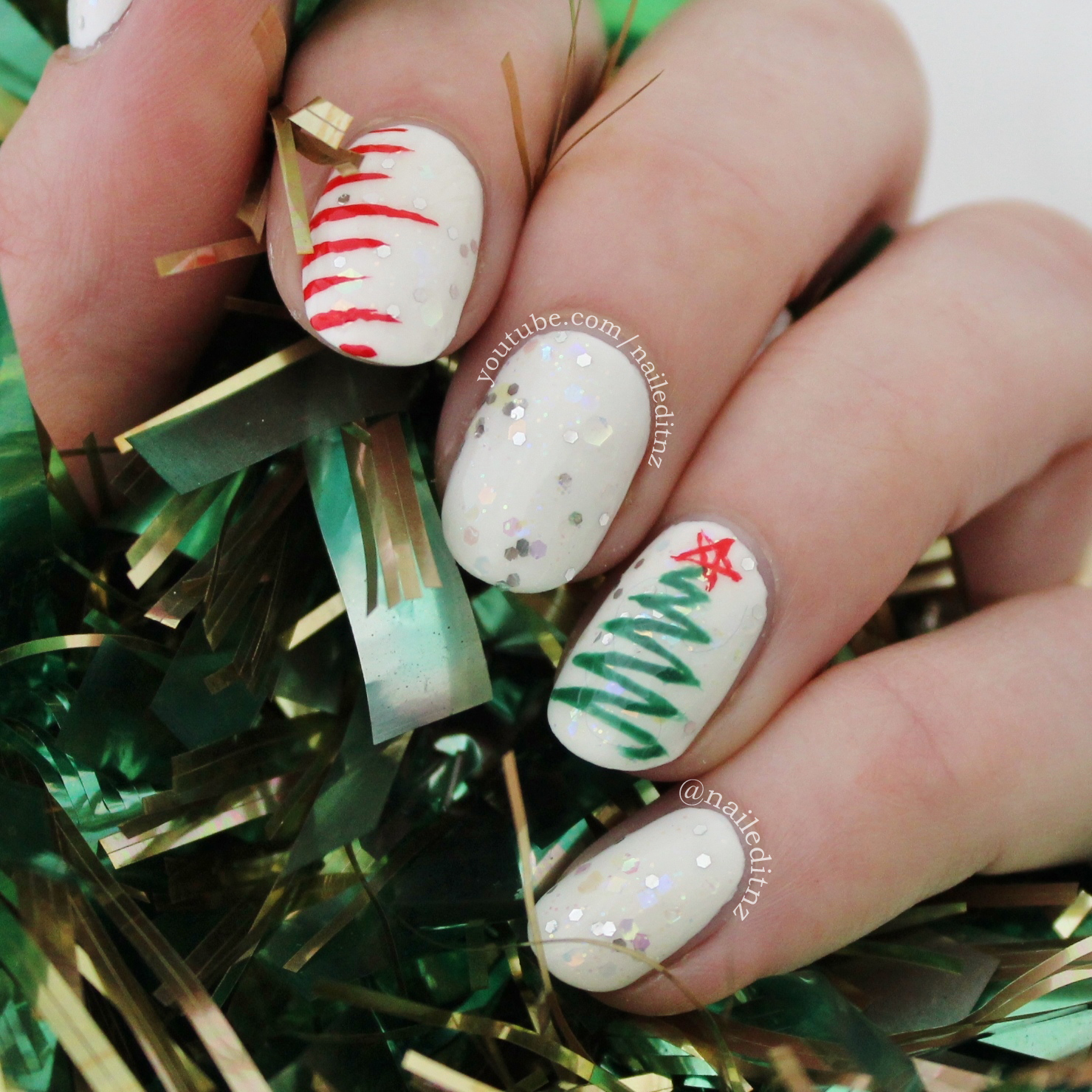 Christmas Design For Short Nails : Christmas nail art tree lights sweater candy canes