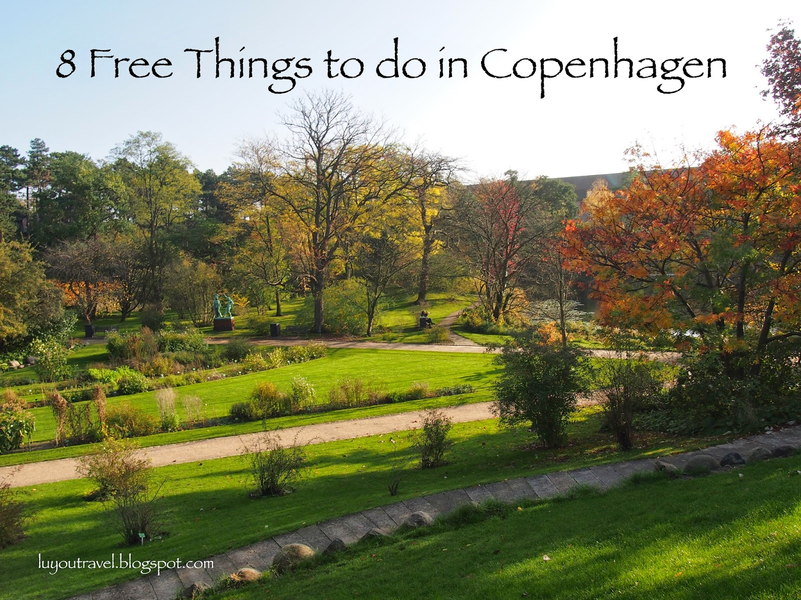 A view of the Copenhagen botanical garden with fall color leaves