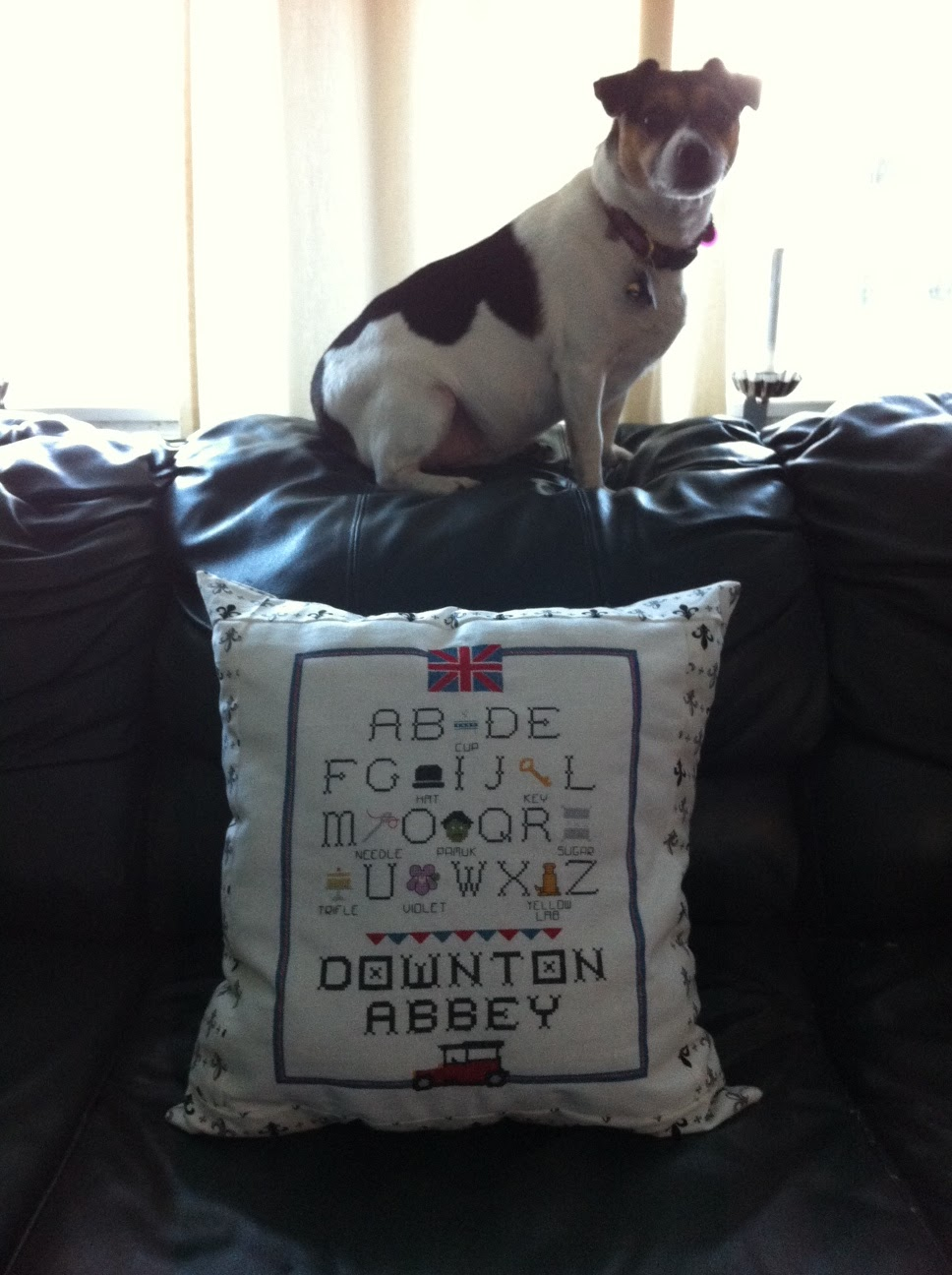 downton abbey alphabet cross stitch pillow