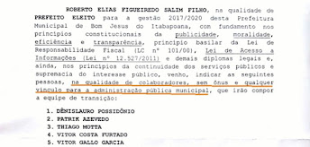 Confirmada oficialmente a equipe de transição do governo Roberto Salim