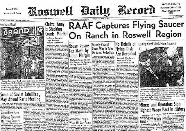 Roswell Daily Record – 8 Temmuz 1947, Salı RAAF Askeri Üssü Roswell Bölgesi'ndeki Arazide Uçan Daire Ele geçirdi