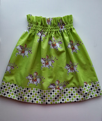 a lime green skirt with a ruffled waist and a polka dotted hem