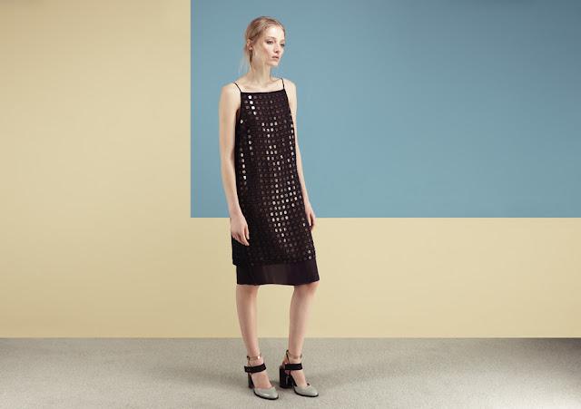 square sequin dress, black sequin strappy dress,