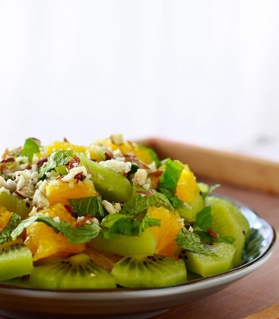 orange and kiwi fruit salad with honey ginger dressing
