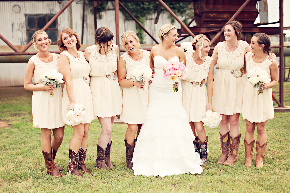 Short white wedding dresses with cowboy boots