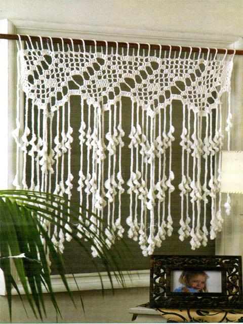 Tejidos artesanales en crochet como tejer una cortina for Cortinas de gancho para cocina