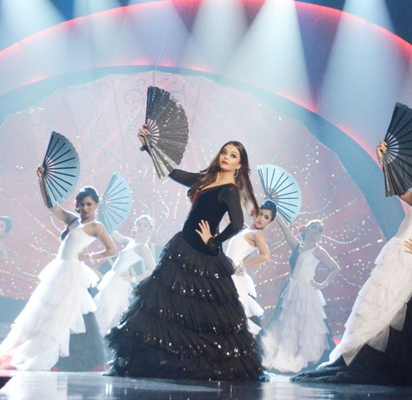 Bollywood's light-eyed beauty Aishwarya Rai Bachchan performs on a song from her film 'Guzaarish' at the Ponds Femina Miss India 2013 contest, held at Yash Raj Studios, in Mumbai, on March 24, 2013.