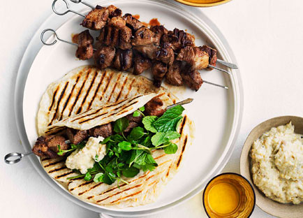 Grilled cumin and chilli lamb skewers with smoky eggplant pure grilled cumin and chilli lamb skewers with smoky eggplant pure recipe arabic food recipes forumfinder Images
