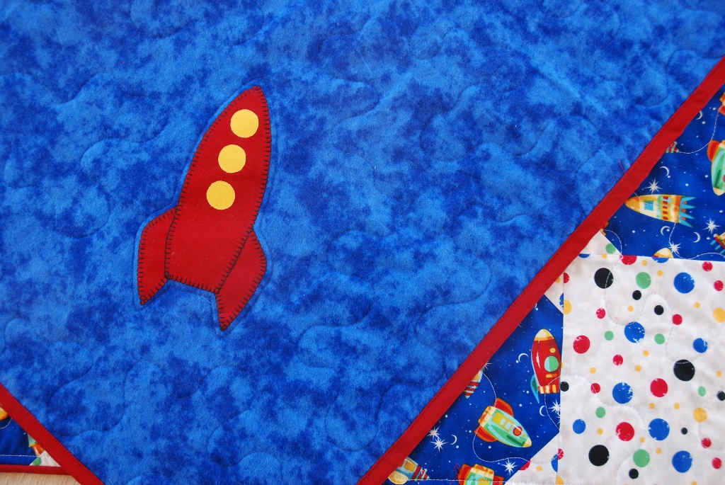 Charley dee me outer space baby boy quilt for Space fabric quilt