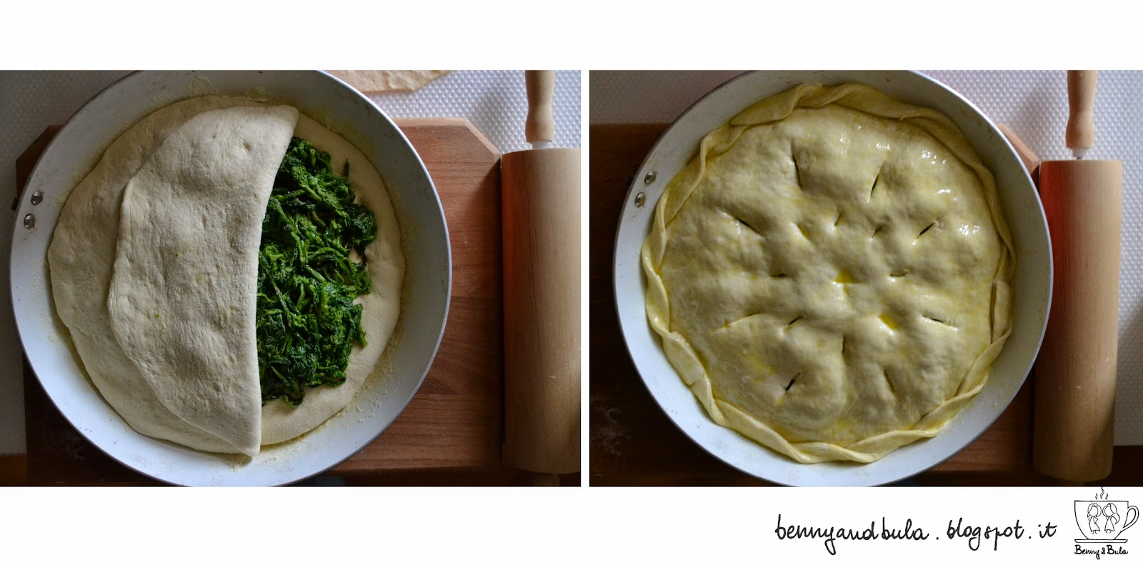 ricetta pizza ripiena con broccoletti/ broccoli stuffed or filled pizza pie recipe