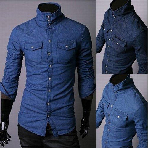 high collar mens shirts men spring shirt fashion casual designer mens