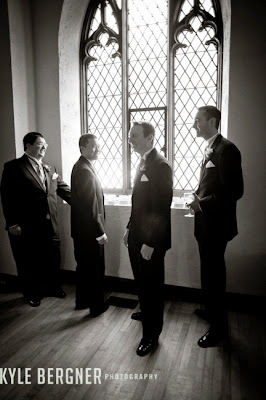 Groomsman waiting before the ceremony at Chase Court in Baltimore