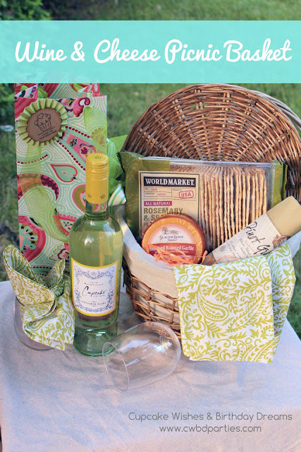 Rustic Picnic Basket, wine bottle gift bag, Cupcake Wine, World Market Wine and Cheese, Pretty Cloth Napkins