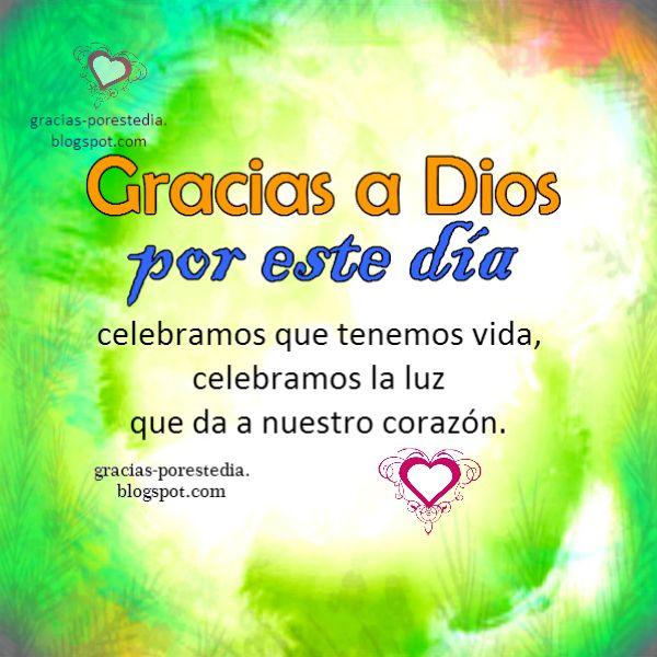 Imagen cristiana gracias a Dios por este día. Feliz día con una acción de gracias de corazón. Mensaje cristiano.