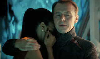 Simon Pegg as Scotty (with Uhura, played by Zoe Saldana) in Star Trek Into Darkness, Directed by J. J. Abrams