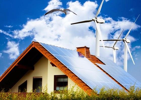 casa com energia solar e eólica