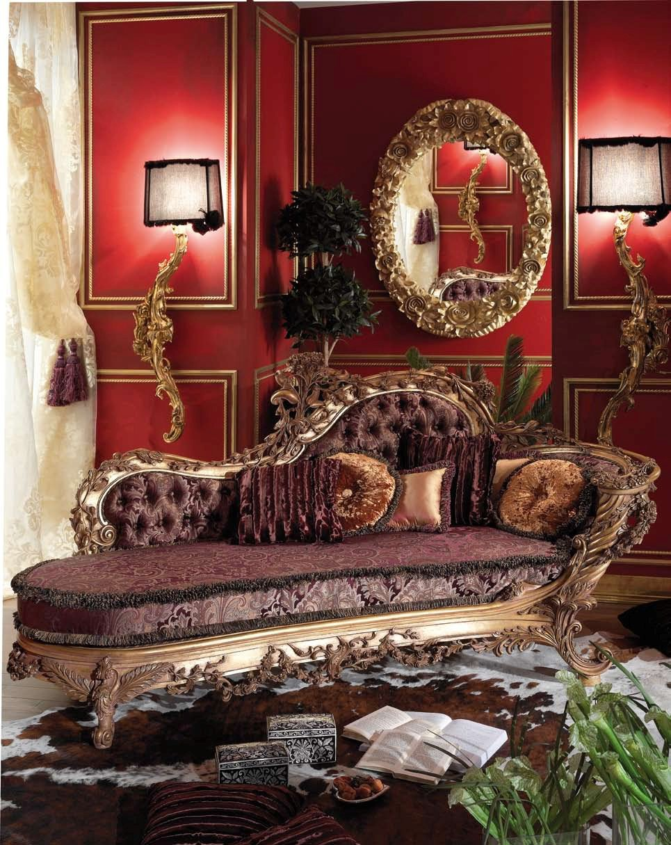 Antique italian classic furniture classic style for Antique style chaise lounge