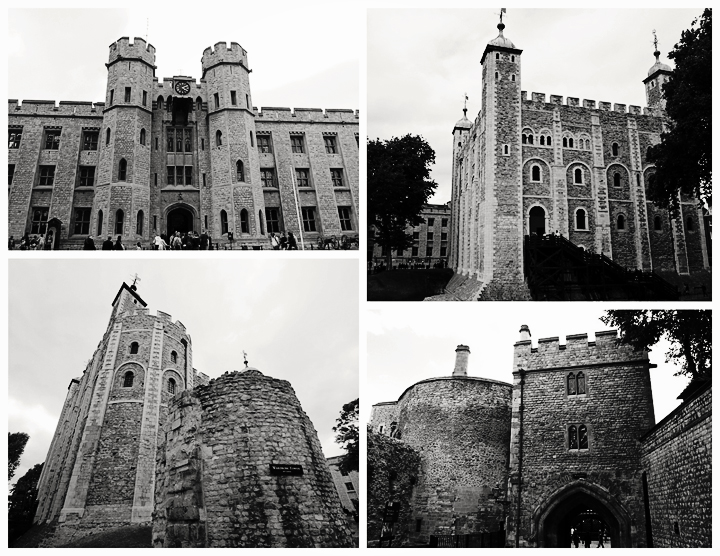 Four of the towers in the Tower of London