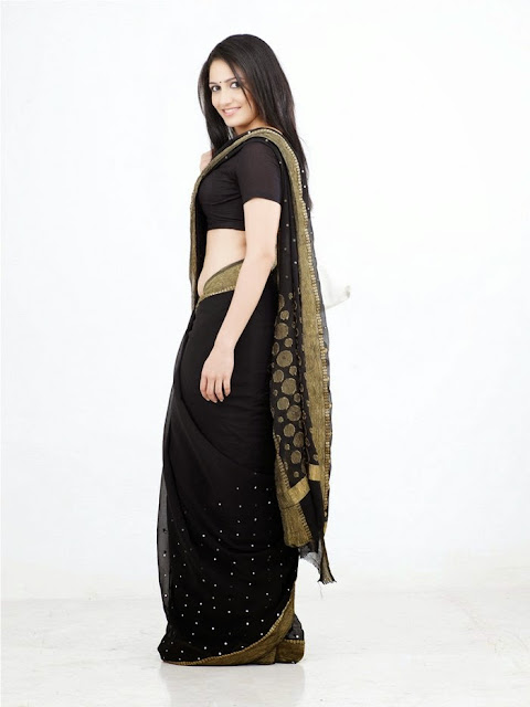 Komal Sharma in Black Saree and Black Blouse Cute Pics
