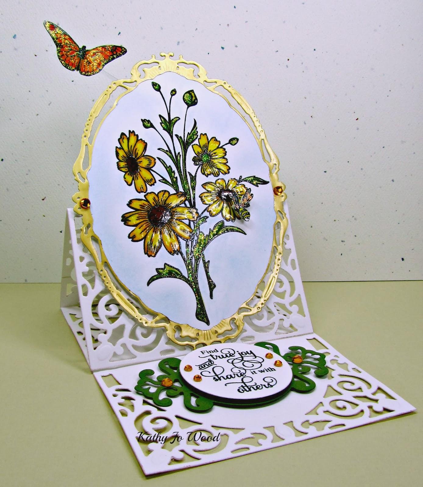 Black Eyed Susan, butterflies, card, Filigree Delight, Just Rite, JustRite, opulent ovals, parisian accents, Spellbinders, standard circles,