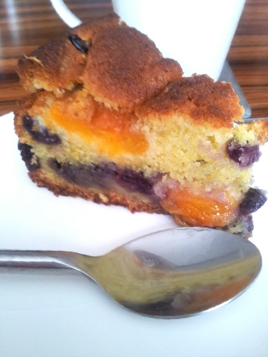 Apricot, blueberry, orange and almond soured cream cake