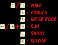 Instructies spelletje professionals: pijlen naar recht links / lopen, pijl naar beneden / bukken, pijl naar boven / ga door de deur, D / schieten, R / wapen herladen