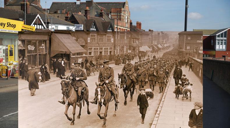 Fotografías de la Primera Guerra Mundial fijados en el contexto de sus ubicaciones de hoy en día