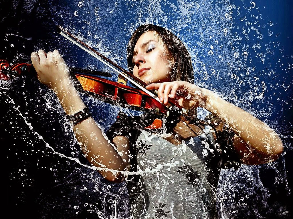 Girl Enjoy music in Rain