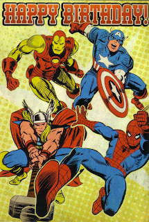 Front of retro Marvel Comics birthday card from 2010