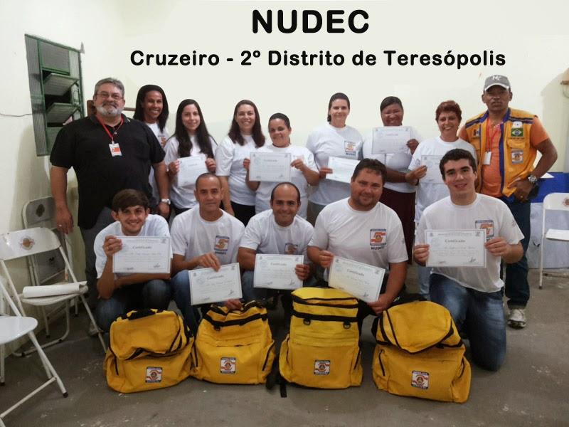 Implantação do NUDEC de Cruzeiro, no 2º Distrito de Teresópolis: após capacitação, os voluntários recebem certificado, uniforme e equipamentos